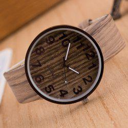 Faux Leather Wood Grain Watch -