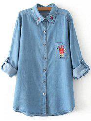 Plus Size Robot Embroidered Light Denim Shirt