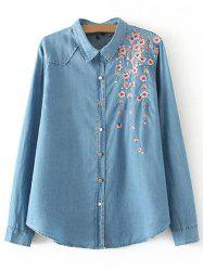 Plus Size Palm Blossom Embroidered Denim Shirt