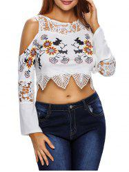 Floral Printed Flare Sleeve Cold Shoulder Cropped Top