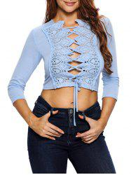 Hollow Out Lace Up Short Top -