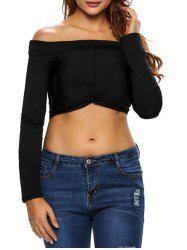 Twist Off The Shoulder Cropped T-Shirt