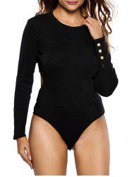 Zipper Cut Out Long Sleeve Bodysuit -