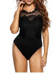 Backless Lace Panel Bodysuit