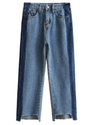 Wide Leg Mom Frayed Jeans - DENIM BLUE