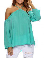 Slip Cold Shoulder Chiffon Blouse