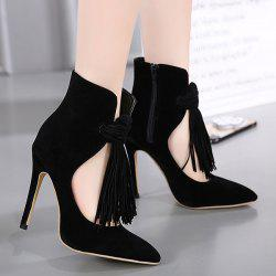 Pointed Toe Tassels Zipper Pumps