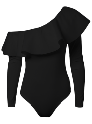Long Sleeve Ruffle Skinny One Shoulder Bodysuit - BLACK S