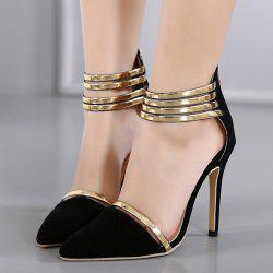 Two Piece Zipper Pumps - BLACK