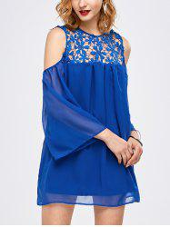 Lace Panel Cold Shoulder Tunic Blouse