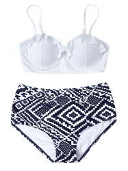 High Waisted Geometric Push Up Bikini