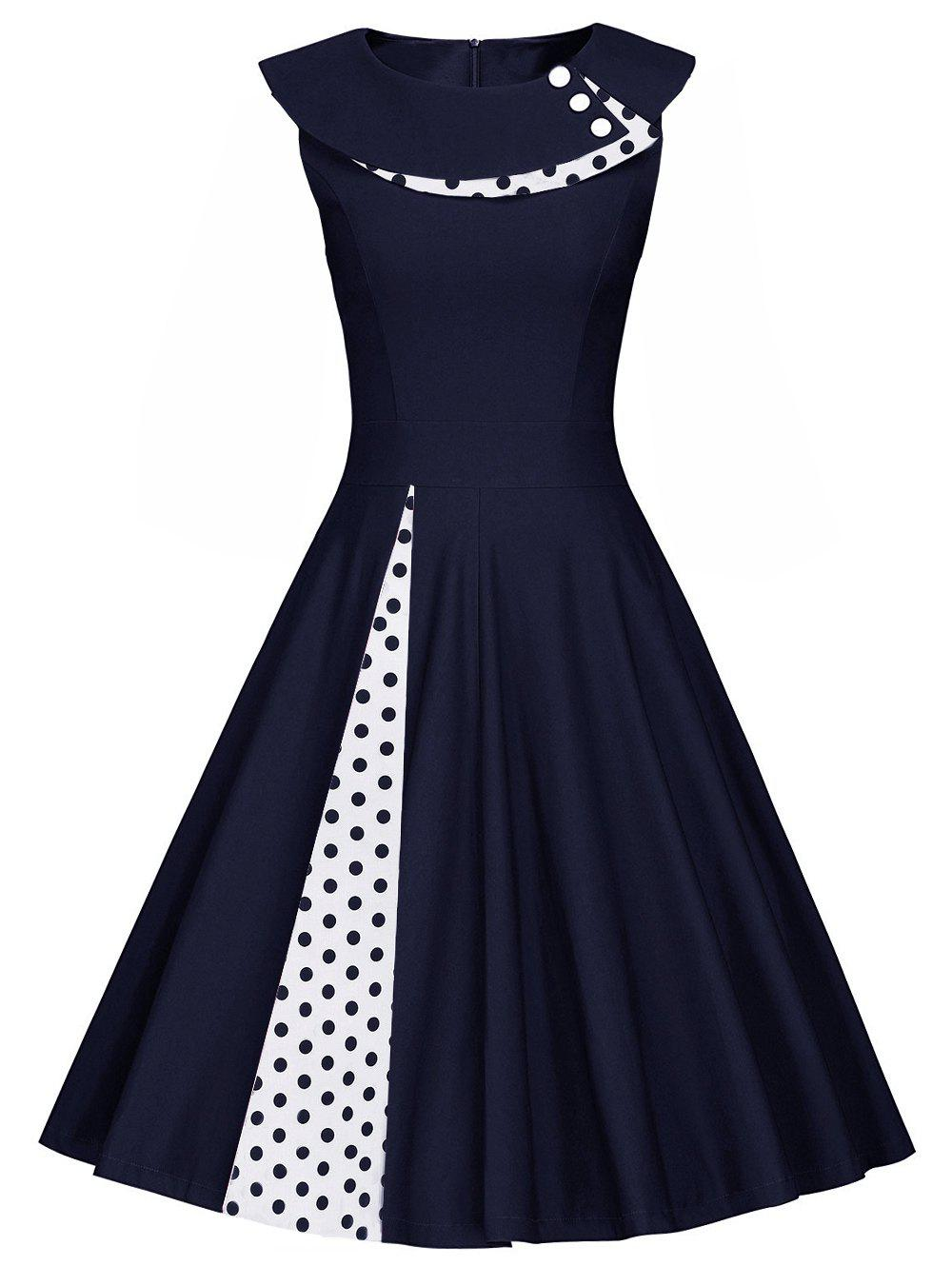 Polka Dot Sleeveless Pleated A Line DressWOMEN<br><br>Size: M; Color: PURPLISH BLUE; Style: Vintage; Material: Polyester; Silhouette: A-Line; Dresses Length: Knee-Length; Neckline: Round Collar; Sleeve Length: Sleeveless; Pattern Type: Polka Dot; With Belt: No; Season: Spring,Summer; Weight: 0.520kg; Package Contents: 1 x Dress;