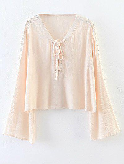 Fashion Cut Out Flare Sleeve Lace-Up Blouse