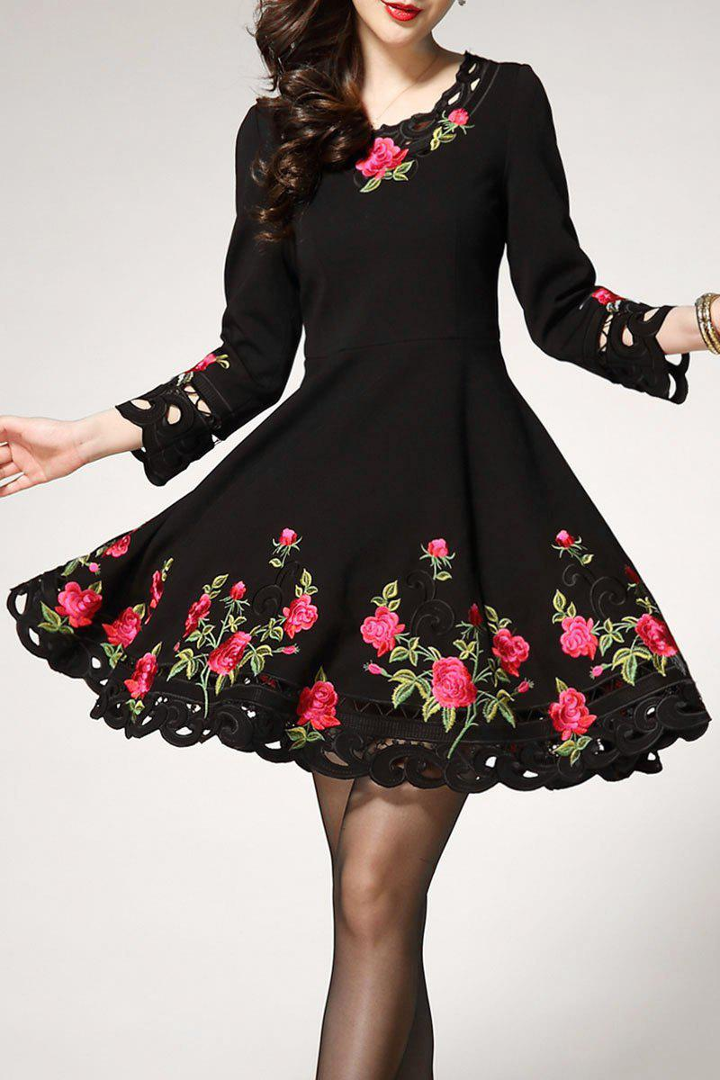 Sleeve Mini robe longue Embroiedered