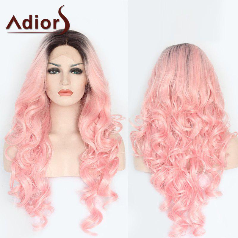 Chic Adiors Long Side Parting Colormix Wavy Lace Front Synthetic Wig
