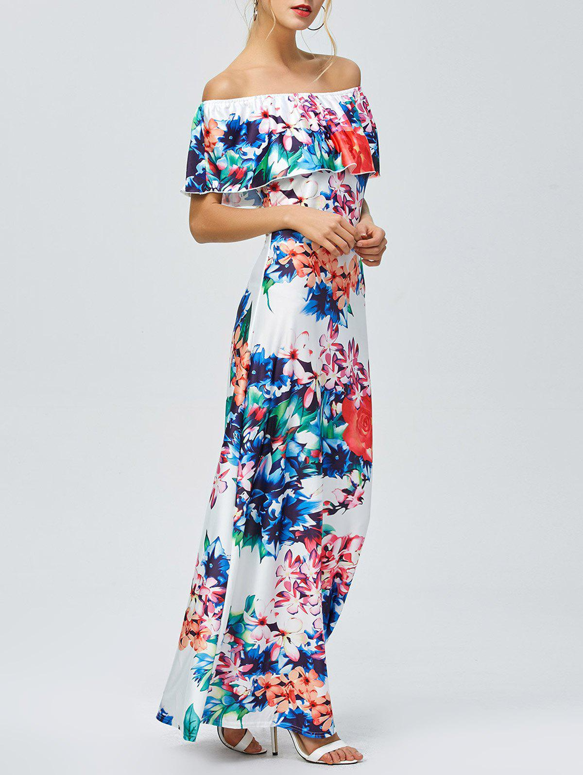 8588b95e30b4 Discount Off Shoulder Floral Hawaiian Maxi Summer Dress