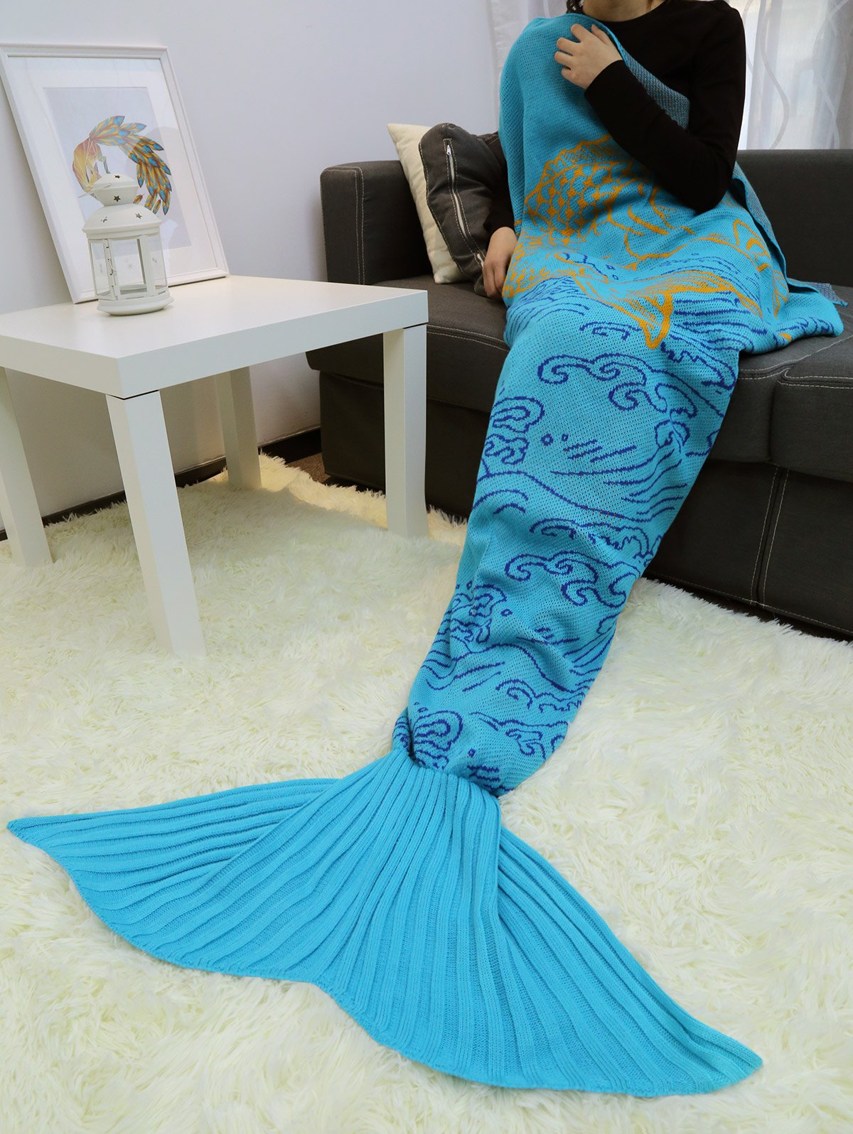Store A Fish Leaping Over The River Design Knitted Mermaid Blanket Throw