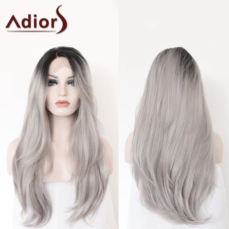 Trendy Adiors Long Side Parting Colormix Straight Lace Front Synthetic Wig