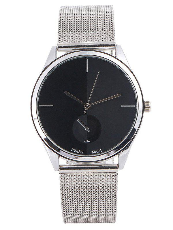 Quartz Watch with Steel WatchbandJEWELRY<br><br>Color: BLACK; Gender: For Men; Style: Business; Type: Quartz watch; Case material: Alloy; Band material: Stainless Steel; Movement: Quartz; Dial Shape: Round; Water-Proof: No; Case Thickness(MM): 10MM; Dial Diameter: 3.8CM; Band Length(CM): 23CM; Band Width(CM): 1.8CM; Package Contents: 1 x Watch;