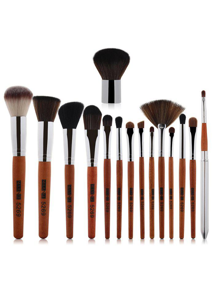 15 Pcs Nylon Makeup Brushes SetBEAUTY<br><br>Color: SILVER; Category: Makeup Brushes Set; Brush Hair Material: Nylon; Features: Professional; Season: Fall,Spring,Summer,Winter; Length: 19.5cm; Weight: 0.170kg; Package Contents: 15 x Brushes (Pcs);