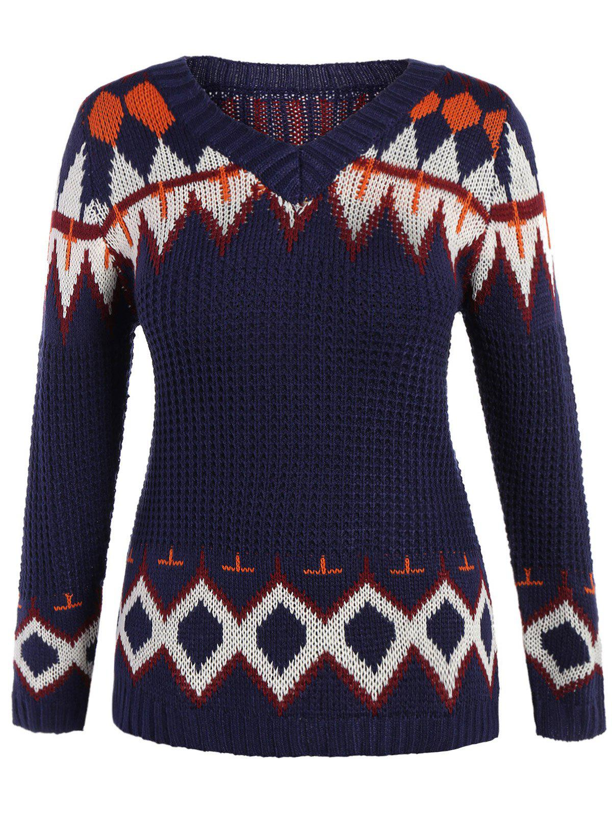 New V Neck Graphic Plus Size Pullover Sweater