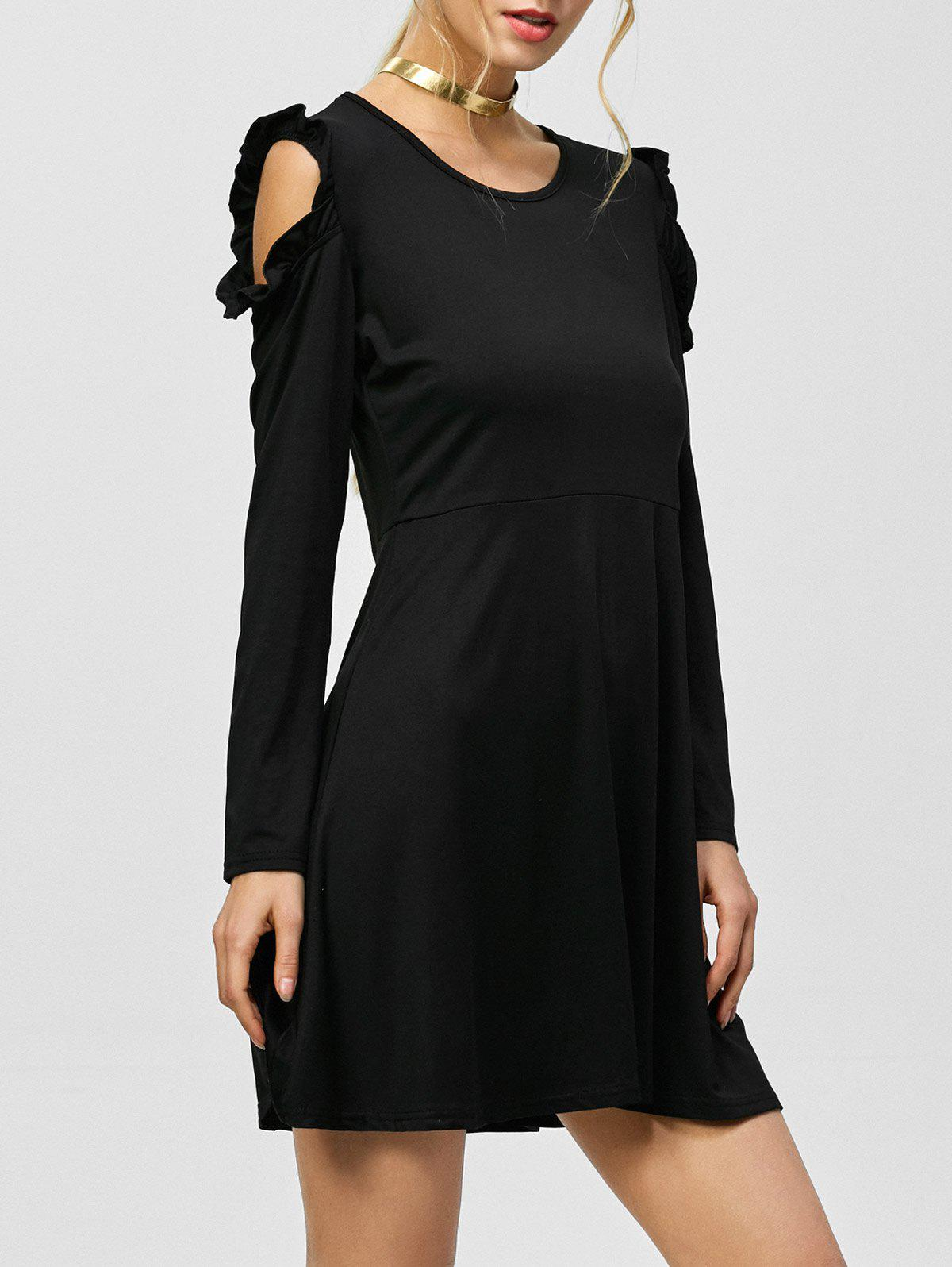 Unique Cold Shoulder Long Sleeve Mini Shift Dress
