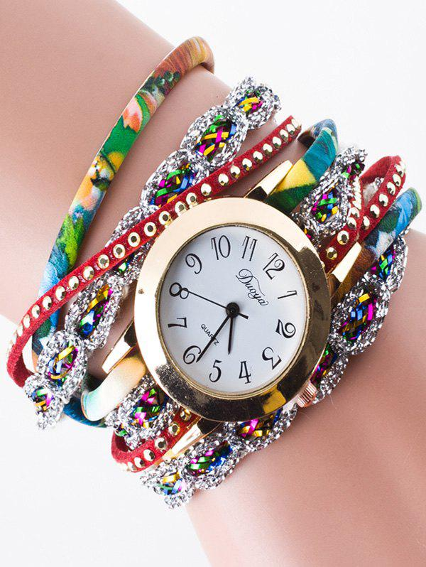 Rhinestone Wrap Bracelet WatchJEWELRY<br><br>Color: RED; Gender: For Women; Style: Fashion; Type: Quartz watch; Index Dial: Analog; Case material: Alloy; Band material: PU Leather; Movement: Quartz; Dial Shape: Round; Water-Proof: No; Case Thickness(MM): 0.7cm; Dial Diameter: 3cm; Band Length(CM): 58cm; Band Width(CM): 1cm; Package Contents: 1 x Watch;