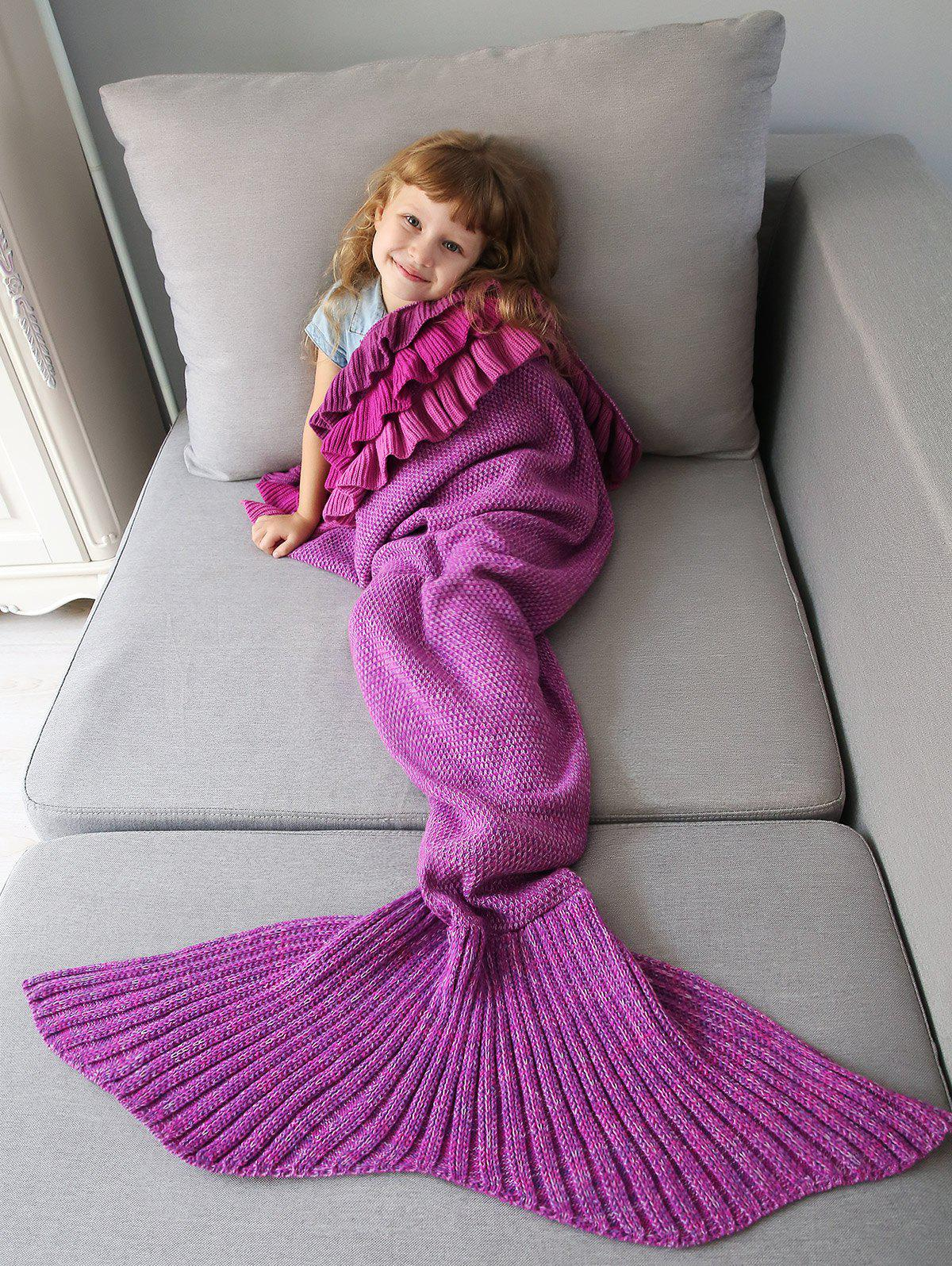 Affordable Home Decor Multilayered Ruffles Knit Mermaid Blanket Throw For Kids