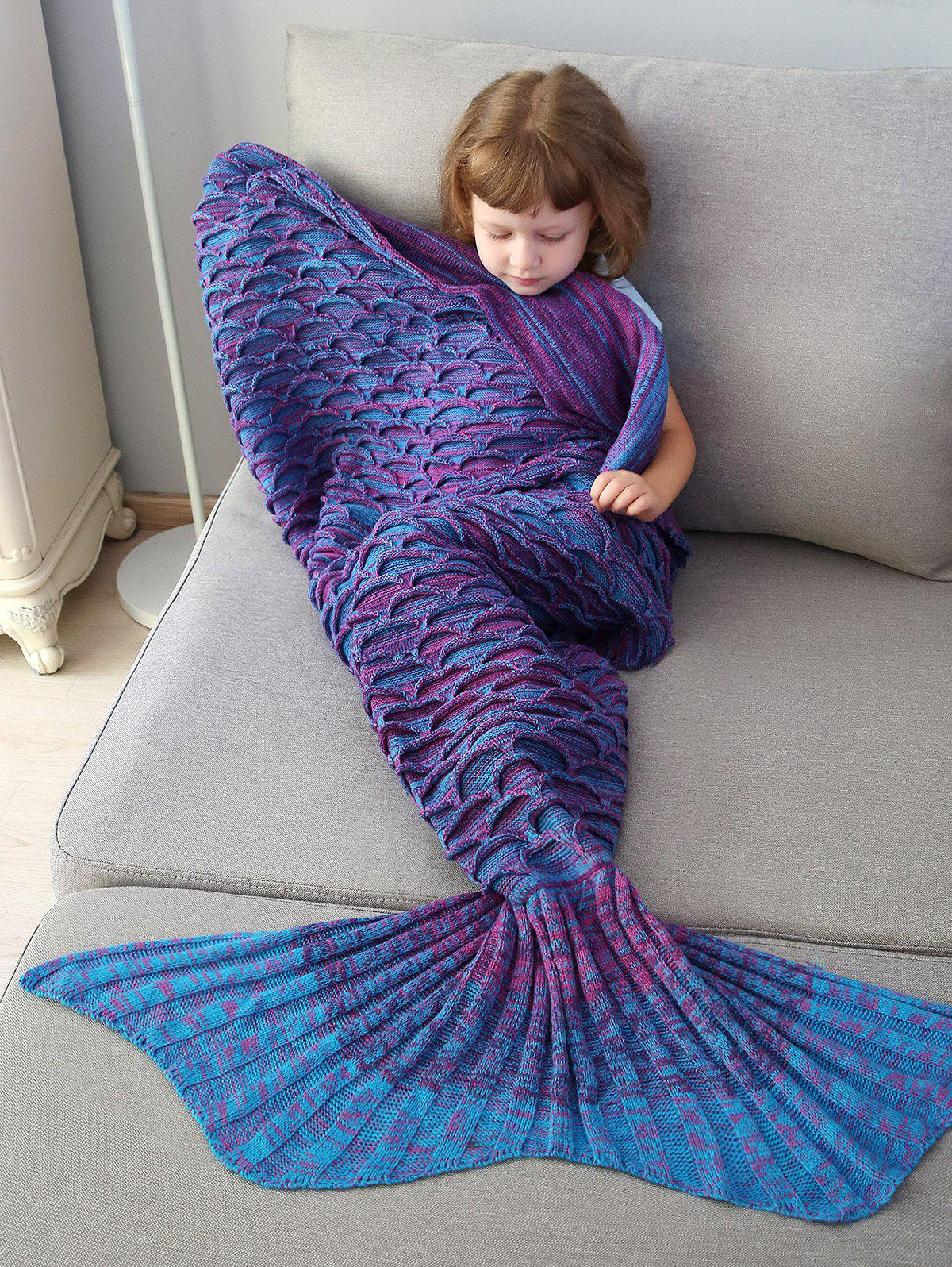 New Home Decor Mix Color Fish Scale Knit Mermaid Blanket Throw For Kids