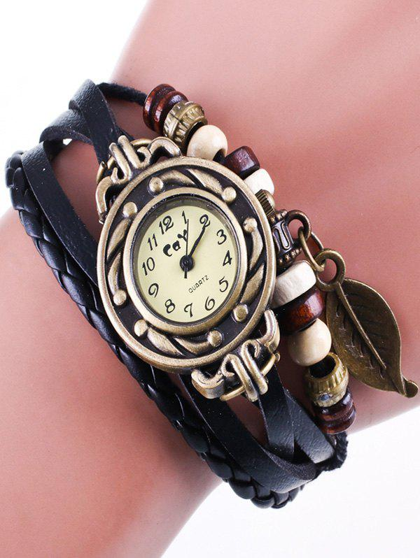 Faux Leather Strand Bracelet WatchJEWELRY<br><br>Color: BLACK; Gender: For Women; Style: Fashion; Type: Quartz watch; Index Dial: Analog; Case material: Alloy; Band material: PU Leather; Movement: Quartz; Dial Shape: Round; Water-Proof: No; Case Thickness(MM): 0.8cm; Dial Diameter: 2.2cm; Band Length(CM): 20.7cm; Band Width(CM): 1cm; Package Contents: 1 x Watch;
