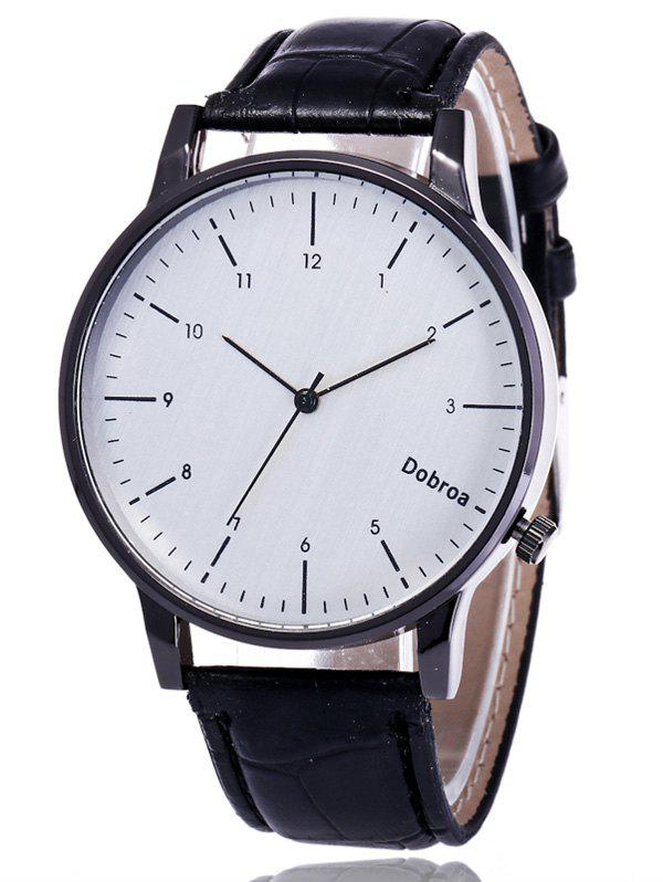 Faux Leather Number Wrist WatchJEWELRY<br><br>Color: WHITE AND BLACK; Gender: For Men; Style: Fashion; Type: Quartz watch; Index Dial: Analog; Case material: Alloy; Band material: PU Leather; Movement: Quartz; Dial Shape: Round; Water-Proof: No; Case Thickness(MM): 0.8cm; Dial Diameter: 4cm; Band Length(CM): 25.5cm; Band Width(CM): 2cm; Package Contents: 1 x Watch;