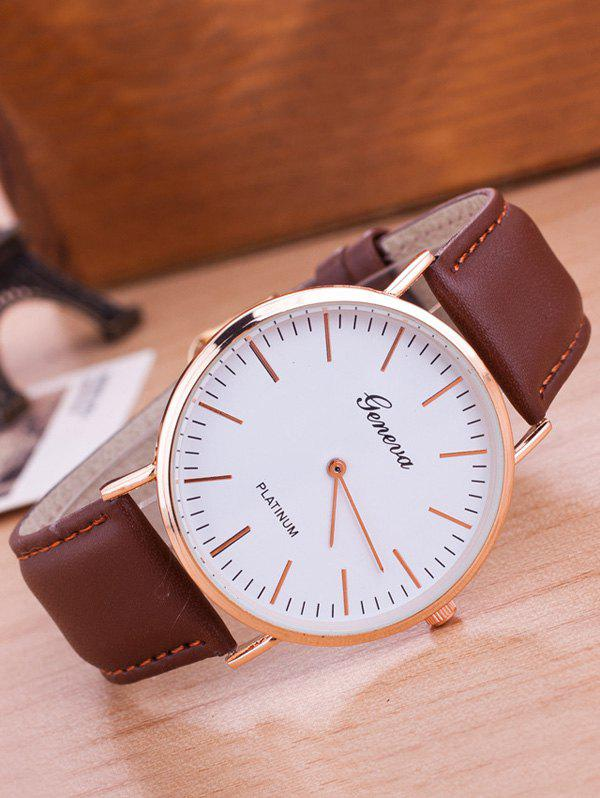 Faux Leather Band Analog Wrist WatchJEWELRY<br><br>Color: COFFEE; Gender: For Men; Style: Fashion; Type: Quartz watch; Index Dial: Analog; Case material: Alloy; Band material: PU Leather; Movement: Quartz; Dial Shape: Round; Water-Proof: No; Case Thickness(MM): 0.6cm; Dial Diameter: 4cm; Band Length(CM): 24cm; Band Width(CM): 2cm; Package Contents: 1 x Watch;