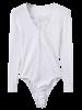 Lace Up Ribbed Skinny Cotton Bodysuit - WHITE M