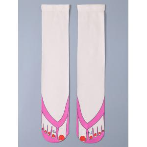 3D Wear Flip Flops Print Knit Stockings - Off-white - One Size