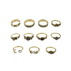 Flower Leaf Fake Gem Jewelry Ring Set - Golden - 8