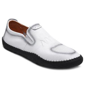 Elastic Faux Leather Casual Shoes - White - 43