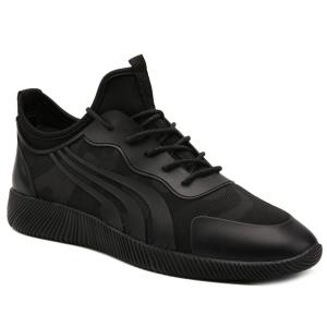 Stretch Fabric Faux Leather Athletic Shoes - Black - 42