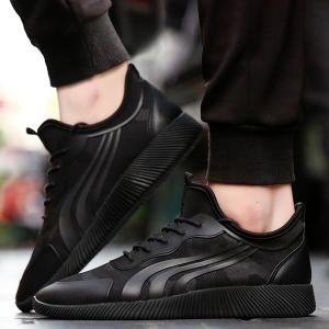 Stretch Fabric Faux Leather Athletic Shoes - BLACK 42