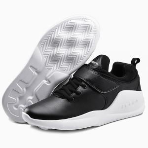 PU Leather Tie Up Athletic Shoes - WHITE AND BLACK 41