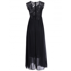 Chiffon Lace Panel Long Flowing Prom Dress -