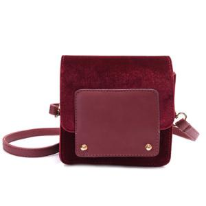 Flapped Velour Mini Crossbody Bag
