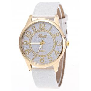 Faux Leather Glitter Number Watch - White - 38