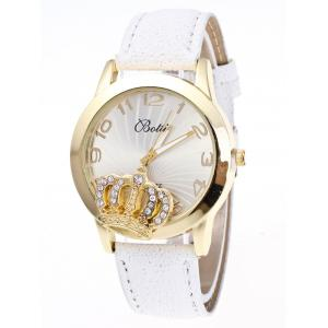 Faux Leather Crown Number Watch - White - One-size