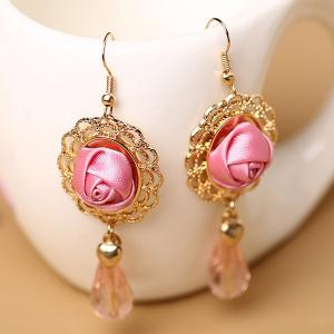 Artificial Gem Flower Teardrop Earrings - GOLDEN