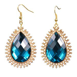 Artificial Sapphire Teardrop Earrings
