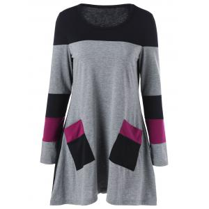 Double Pockets Color Block T-Shirt