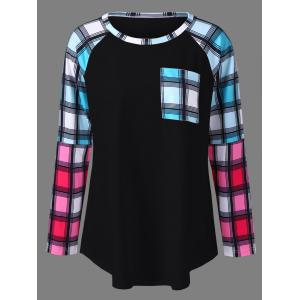 Plus Size Raglan Sleeves Long Plaid T-Shirt - Black - 2xl