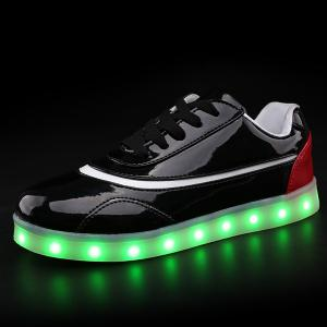 Led Luminous Color Block Athletic Shoes -