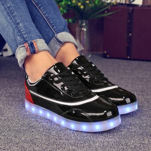 Led Luminous Color Block Athletic Shoes - RED/BLACK 37