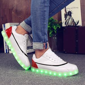 Led Luminous Color Block Athletic Shoes - RED/WHITE 39